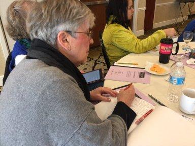 Linda Rief works in her notebook